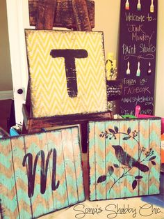 Re-purposed shabby decor signs made with our ever loved Junk Monkey chalky paint!