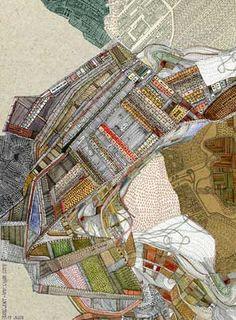 """map"" drawing by British architect/ cartographer/ illustrator Nigel Peake. Looks like thread art! Map Quilt, Quilts, Quilt Art, Textiles, Impression Textile, A Level Art, Gcse Art, Map Design, Map Art"