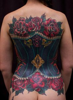 This is one sexy corset that you can never take off. #InkedMagazine #corset #roses #back #tattoo #tattoos #Inked #ink #art #beautiful