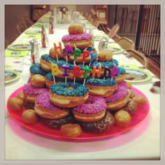 """The doughnut """"cake"""" I made for my daughter's birthday. A hit with the kids!!"""