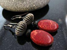 Dangle Red Sponge Coral Earrings Drop Orange by MsBsDesigns, $30.00