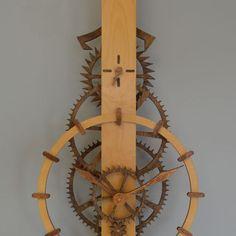 Ascent Wooden Gear Clock: Available as a precut clock kit or DIY clock plan Wooden Clock Kits, Wall Clock Kits, Diy Clock, Wood Clocks, Cnc Woodworking, Youtube Woodworking, Beginner Woodworking Projects, Wooden Gears, Steampunk Clock