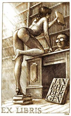 An ex-libris, bookplate, i made for a client. Ex Libris - The library Ex Libris, Sexy Drawings, Art Drawings, Comics Vintage, Drawn Art, Art Et Illustration, Pulp Art, Pin Up Art, Artists Like