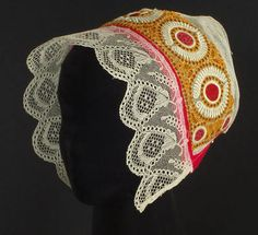 Antique Slovak Folk Costume Bonnet old embroidered cap ethnic bobbin lace
