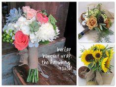 Burlap wraps for bridal bouquets.  Worcester florists - Sprout