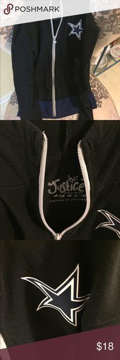 Justice Dallas Cowboy Jacket Excellent condition , no fading. Hooded sweatshirt , lightweight, size 8/10 Justice Jackets & Coats