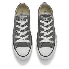 Converse Unisex Chuck Taylor All Star OX Canvas Trainers - Charcoal ($55) ❤ liked on Polyvore featuring shoes, sneakers, converse, star sneakers, low profile sneakers, canvas sneakers, charcoal gray shoes and converse sneakers