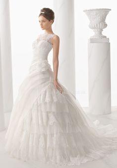 Retro Ball Gown Bateau Neck Organza & Lace Asymmetric Waist Floor Length Wedding Dress