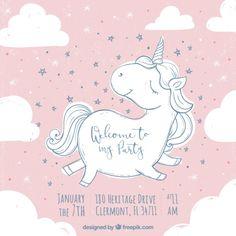 Invitación de cumpleaños con lindo boceto de unicornio Vector Gratis
