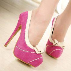 New Design Red PU Round Closed Toe Stiletto Super High Heel Basic Pumps Pink High Heels, Super High Heels, Womens High Heels, Shoe Pie, Girls Heels, Party Shoes, Women's Pumps, Stiletto Heels, Peep Toe