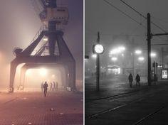 Rostock tief in Neujahrsnebel gehüllt. (Silvester, Neujahr, Nebel, MeckPomm, Stadthafen, Winter, Fotografie)