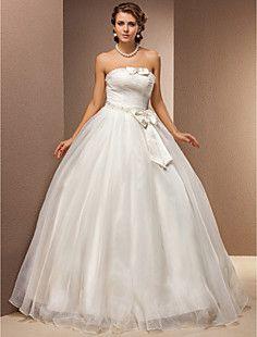 Ball Gown Strapless Tulle Floor-length Wedding Dress – GBP £ 165.07