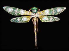 Yellow & White Diamonds and Opals Plique a jour Enamel Dragonfly pin.