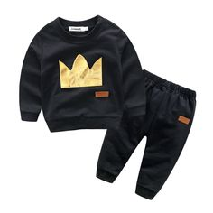 Unique Crown Print Color-blocking Long-sleeve Top and Pants Set for Baby Boy 12.29
