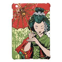 Illustrated Geisha iPad Mini Cases #ipad #ipadmini #smartphone #apple #case #cover #ipadminicase #japan #oriental #japanese #gift #geishs