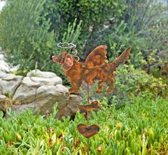 Golden Retriever Pet Memorial Plant Stake / Indoor or Outdoor / Garden Art / Copper Metal Yard Art / Dog Angel Grave Marker / Patina Finish