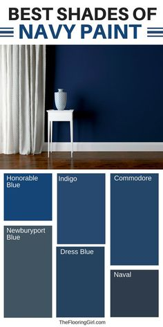 Best shades of navy paint and clever ways to decorate with navy for a fresh and modern look.  The navy trend is so hot right now and it goes so well with both dark and light hardwood floors, as well as white trim.  #navy #paint #shade #navypaint #moderndecor #sherwinwilliams #benjaminMoore #commodore #naval #indigo