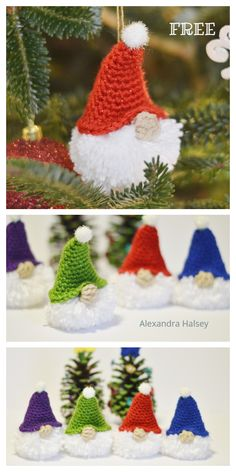 Christmas Puffball Gnome Ornament Free crochet patterns - Baby Stuff and Crafts Crochet Christmas Decorations, Christmas Applique, Crochet Christmas Ornaments, Crochet Decoration, Christmas Knitting Patterns, Holiday Crochet, Crochet Christmas Stockings, Diy Crochet And Knitting, Crochet Patterns Amigurumi