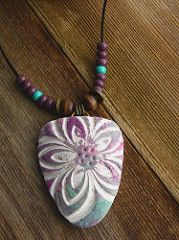 Flower Relief Arrowhead Pendant | by WiredOrchid Image transfer and polymer clay