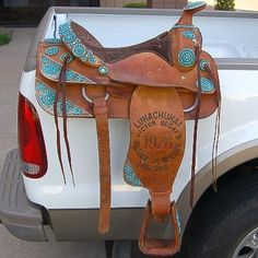 """Victor Begay Genuine Turquoise Needle Point 15"""" Bicentennial Show Saddle Brown Leather-Gorgeous!!"""
