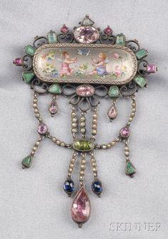 Antique Silver, Enamel, and Gem-set Pendant/Brooch | Sale Number 2510, Lot Number 160 | Skinner Auctioneers