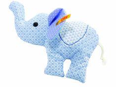 Steiff's Little Circus Elephant Rattle, Light Blue. Machine washable at 86 F (30 C).
