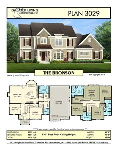 Plan 3029: THE BRONSON - Two Story House Plan - Greater Living Architecture - Residential Architecture