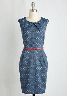 Teaching Classy Sheath Dress in Navy Dots. Share your knowledge with admiring students while delivering a bonus lesson in chic style - as exemplified by this chambray-like sheath. #blue #modcloth
