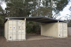 Garage or storage idea - Shipping container roof cover shelter kit suits 2 x Cheap barn shed house Could be good for inexpensive property management storage. Container Home Designs, Container Shop, Container Cabin, Cargo Container, 20ft Container, Container Gardening, Container House Plans, Shipping Container Sheds, Shipping Container Buildings