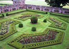 The formal garden at Edzell Castle, Scotland. The castle is a ruin.