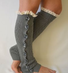 Gray slouchy open button down lace leg warmers knit lace leg warmers boot socks women's accessory fashion socks  brithday gifts on Etsy, $34.00