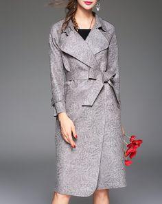 #AdoreWe #VIPme Coats - LANJIAN Gray Faux Suede Trench Coat With Belt - AdoreWe.com