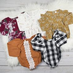 These long sleeve rompers are perfect layering pieces for your little one. They are ideal for fall and winter! Cute Rompers, Rompers Women, Jumpsuits For Women, Toddler Moccasins, Felt Tree, Halloween Signs, Girls Wardrobe, Long Sleeve Romper, Staple Pieces