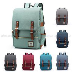 Girl Women Men Canvas Leather Travel Backpack Satchel Rucksack Laptop …: Item details… #Travel_goods #backpack #Canvas #girl #Laptop