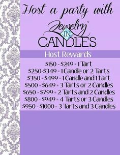 Who would like to host a jewelry in candles party? Here are the host rewards. Visit me at www.facebook.com/jicamurray for details today