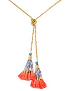 Bold beaded tassels lend springtime vibes to this long lariat. Turquoise will have surface variance. Handle with Care Instructions: We recommend storing on a jewelry stand to avoid threads bending. Wrap tassels for travel to keep their shape.