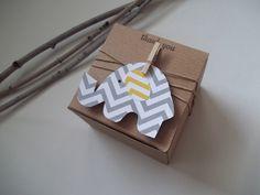 25 Baby Shower favor box chevron elephant gray yellow 3x3x2  box earthy. $40.99, via Etsy.