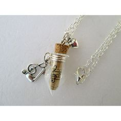 Musical scroll with clef, note and tiny heart silver toned charms... ($17) ❤ liked on Polyvore