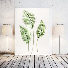 Tropical leaf tropical leaf print palm leaves by LoveWonderPrints $5