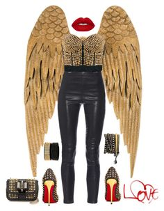 """""""Rocker Wings"""" by boho-betty-usa ❤ liked on Polyvore featuring Yves Saint Laurent, Lime Crime, Christian Louboutin and lovebohobetty"""