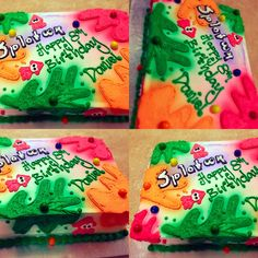 It's a vanilla cake filled with home made custard and cream.   Splatoon theme cake