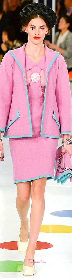 Chanel ~ Cruise Spring Pink Midi Dress w Jacket, 2016 Chanel Fashion, Pink Fashion, Runway Fashion, Fashion 2016, French Fashion, Chanel Cruise 2016, Chanel Resort, Chanel Runway, Chanel Couture