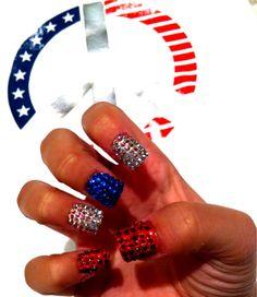 love the jewels! Birthday Nail Art, Patriotic Nails, Plain Nails, Basic Nails, Glam Hair, Holiday Nails, Blue Nails, Mani Pedi, Cut And Color