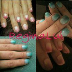 #Reginaluiinc  Matching Nails with Mama Dukes! (She loves it when I do her nails 😉) #blue #pink #SundayWithMom #diy #shortnails #fade #colorfade #YesImProud