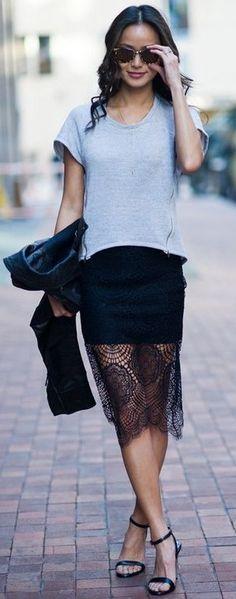 Jamie Chung In Black Grace Skirt | ForLoveAndLemons