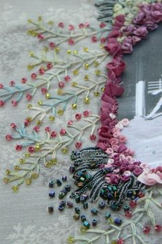 Embroidery and beads ..... This is one of the crafts I would like to do!  So many crafts, and not enough time..................