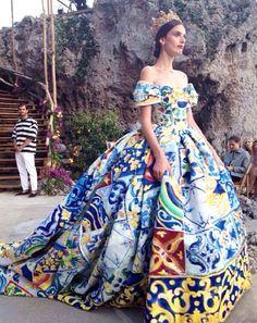 Royal queen ball-gown in regal motif tiles collage print at Dolce and Gabbana Alta Moda Fall Winter 2014 #Couture #HauteCouture #AltaModa