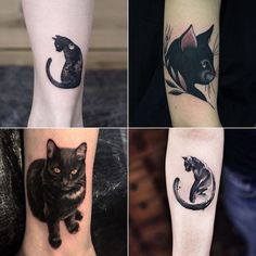 tatuagem de gato preto Dream Tattoos, Baby Tattoos, Future Tattoos, Rose Tattoos, Body Art Tattoos, Tatoos, Z Tattoo, Sword Tattoo, Cameo Tattoo