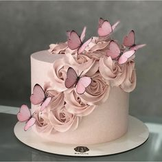 79 Amazing cake inspiration for special celebration - birthday cake ideas, celebration cakes Butterfly Birthday Cakes, Birthday Cake With Photo, Birthday Cake With Flowers, 16 Birthday Cake, Beautiful Birthday Cakes, Butterfly Cakes, Beautiful Cakes, 18th Birthday Cake For Girls, Cake With Butterflies