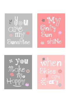 You are my sunshine Art Prints, 4-8x10 prints, nursery, toddler or playroom matches Dwell studio Zinnia Rose